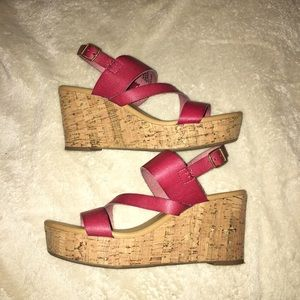 G.H. Bass & Co cork wedges with red leather straps